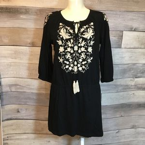 LIFE STYLE black beige embroidered peasant tunic L